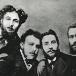 Da sinistra: Luigi Conconi, Carlo Dossi, Giovanni Giachi ed Emilio Praga.
