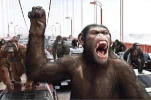 """Cesare, la scimmia protagonista del film, mentre guida la prima """"storica"""" rivolta dei primati."""