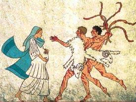 Donna frustata durante la celebrazione dei Lupercalia.