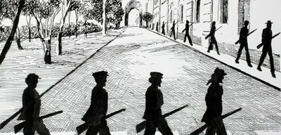 Vignetta satirica che raffigura le ombre di 'ndranghetisti sulle orme dei Beatles.