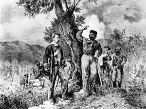 """Stampa d'epoca che raffigura Garibaldi e Nino Bixio a contatto con i """"picciotti"""" siciliani."""