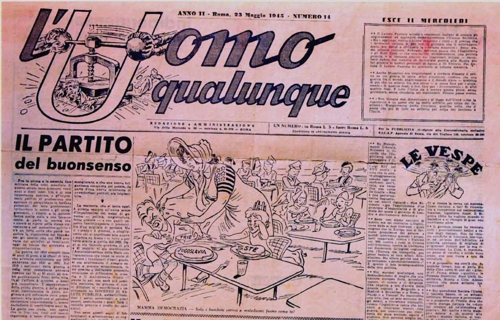 """Una prima pagina del giornale """"L'Uomo qualunque""""."""