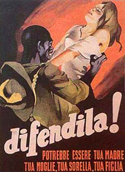"""Pubblicità propagandistica in favore del """"pacchetto protezione"""" offerto dal Fascismo."""